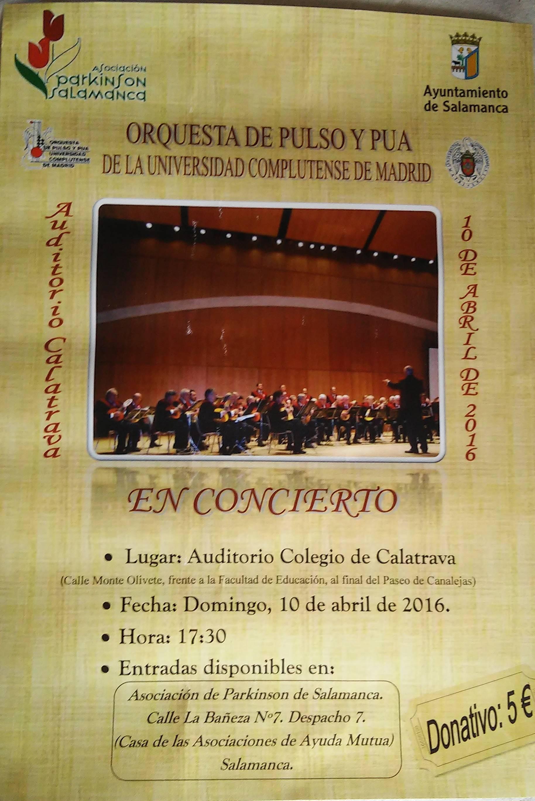 Concierto benéfico a favor de la Asociación Parkinson Salamanca