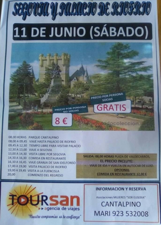 Cartel excursión a Segovia