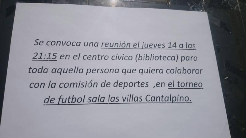 Convocatoria de reunión para el torneo de fútbol sala de Cantalpino